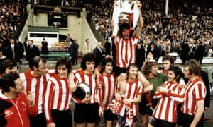 Top 10 greatest FA Cup finals<br>File photo dated 05-05-1973 of Sunderland's captain Bobby Kerr held aloft by his teammates Billy Hughes and goalkeeper Jim Montgomery after their FA Cup Final victory against Leeds United at Wembley Stadium. PA Photo. Issue date: Thursday March 26, 2020. The FA Cup is vaunted as the greatest cup competition in the world and there have certainly been some classic contests over the years to back up that assertion. Finals of any tournament can often be cagey affairs, but every so often both sides throw caution to the wind and produce an absolute classic. Here are the 10 best FA Cup finals to ever take place. See PA story SOCCER Top 10 FA Cup finals. Photo credit should read PA/PA Wire.