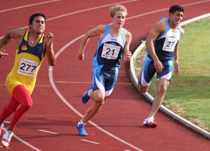 Said Imasi, right, competing in a Norwegian athletics carnival as a teenager