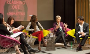 Panel discussion with (l-r) Kathryn Jacob, Amanda Gardiner, chair Zoe Williams, Leyla Hussein, Lindsey Hilsum and Dexter Dias QC.Guardian women seminar: How women can change the world. Held at The Guardian, Kings Place, London. 4 May 2017.