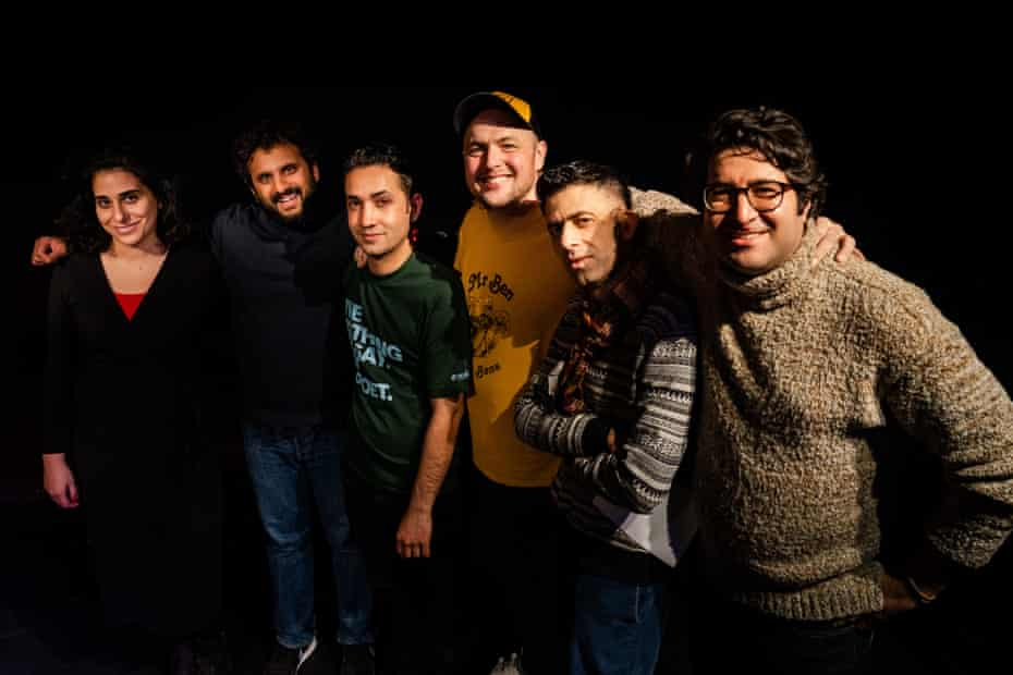 Nour-ani Sisserian, Nish Kumar, Arashk Farahani, Tom Parry, Usman Khalid and Majid Adin from No Direction Home.