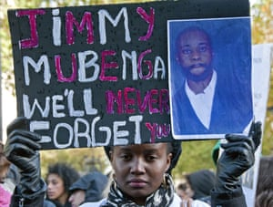 A rally in memory of Jimmy Mubenga in London. The Angolan suffered cardio-respiratory collapse caused by restraint in 2010 and an inquest jury found that he had been unlawfully killed, in a case revealed by the Guardian