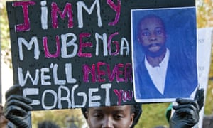 A rally in memory of Jimmy Mubenga in London