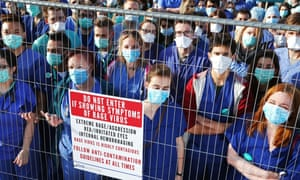 Junior doctors protest outside a screening of the film 28 Days Later in London.