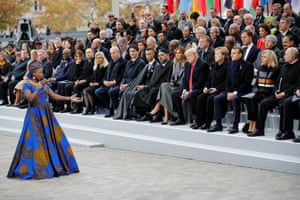 Benin's Angelique Kidjo performs in front of heads of states and world leaders during a commemoration ceremony