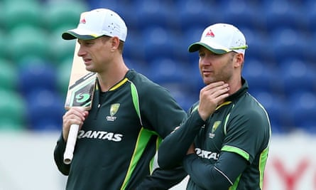 Adam Voges, left, with the Australia captain Michael Clarke