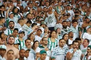 São Paulo, Brazil. Palmeiras fans react to a shot during the game between Palmeiras and Fortaleza in the Brazilian football championship