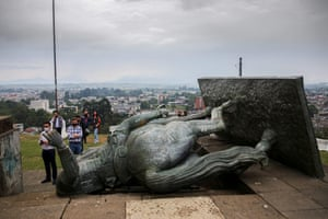 Popayan, Colombia A statue of Sebastian de Belalcazar, a 16th century Spanish conquistador, lies on the ground after it was pulled down by Indigenous protesters
