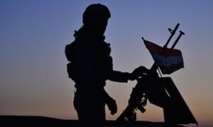 An Iraqi soldier in the oil-rich area of Kirkuk