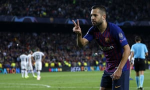 Jordi Alba celebrates after scoring Barcelona's second goal against Inter.