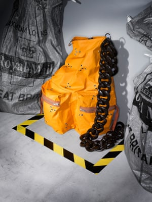If anyone can hit the sweet spot in fashion between practicality and next-level brilliance, it's Raf. His backpack, with its purposeful strap and roadwork-orange colour, is further evidence of this. Practical fashion, but amplified in every which way.Backpack, £1,010, by Raf Simons.