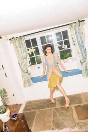 60s influence: gilet, skirt and heels at Miu Miu