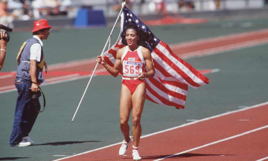 Florence Griffith Joyner celebrates her gold medal win at the 1988 Olympic Games in Seoul.
