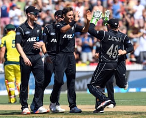 New Zealand celebrate as they regained the ascendancy midway through Australia's run chase.
