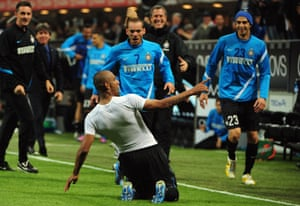 Maicon celebrates after scoring against Milan in May 2012.