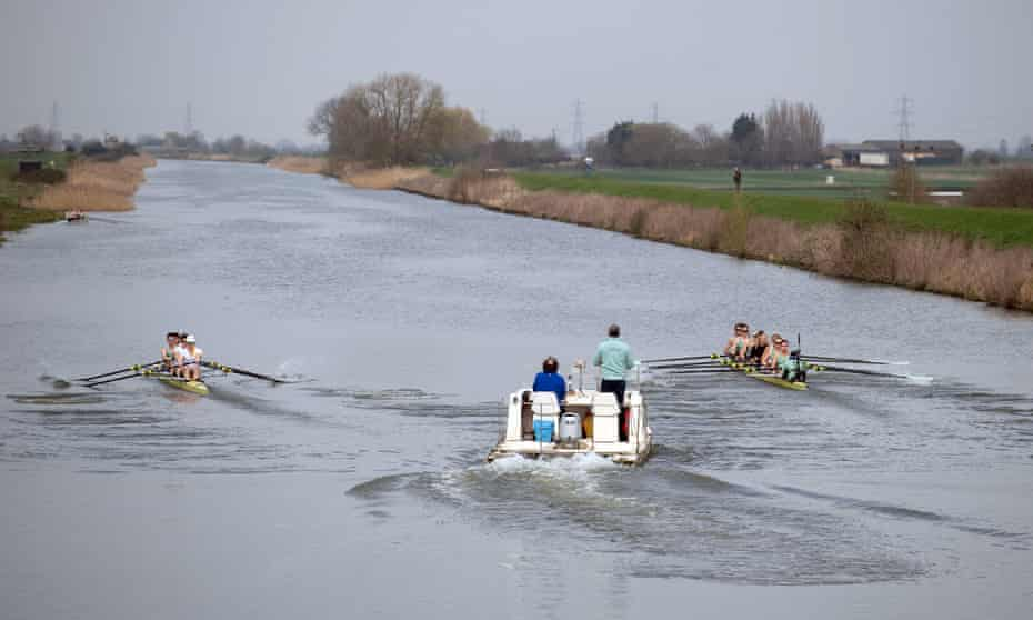 The Cambridge women's team train on the Great Ouse near Ely