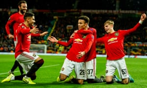 Mason Greenwood celebrates scoring his second, and Manchester United's fourth goal.