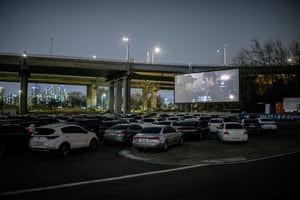 A drive-in cinema in Seoul, South Korea