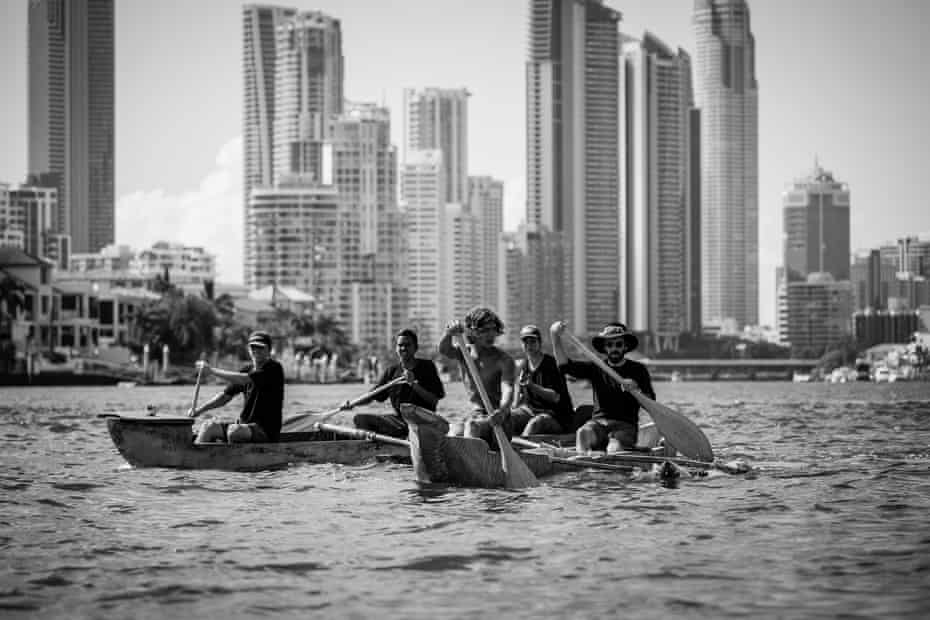 Surfers Paradise behind the Saltwater Boys. Kyle 'Smitty' Matthews, Malachi Urquhart, Bijang Slabb, Jarulah Slabb and Benjamin Allmon