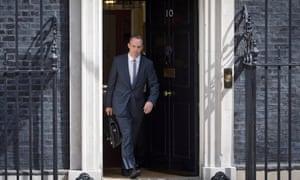 Dominic Raab leaves 10 Downing Street.