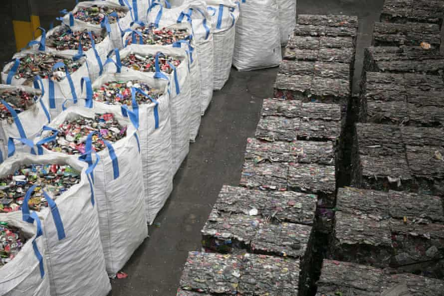 Material identified as recycling is separated from the rest of the waste.