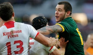 David Klemmer pushes off Sam Burgess after the try scored by Matt Gillett during the England v Australia Four Nations match.