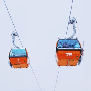 An image of cable cars from Chinese photographer Ying Yin's series Wind of Okhotsk