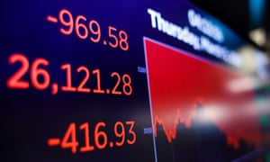 A screen shows the Dow Jones industrial average