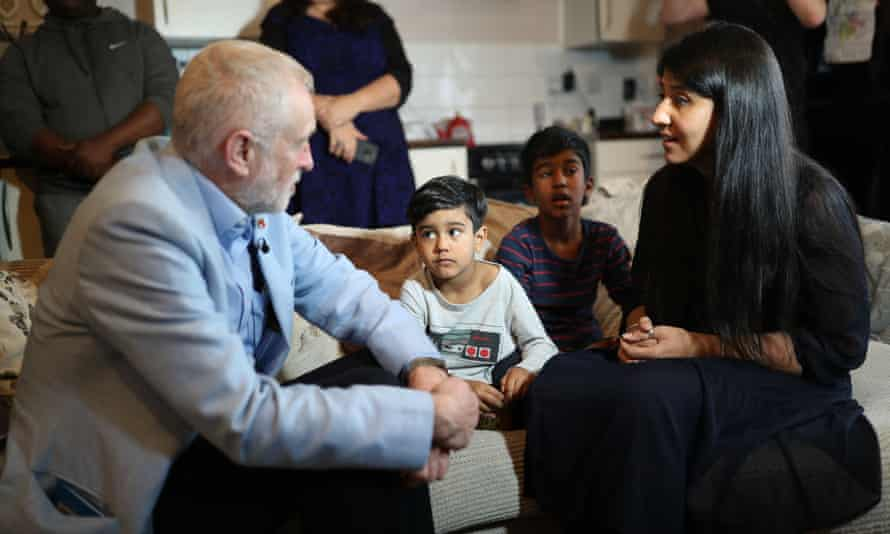 Corbyn meets Elias, Eesa and mother Sabiha during his visit to Clyde House, Putney, London.