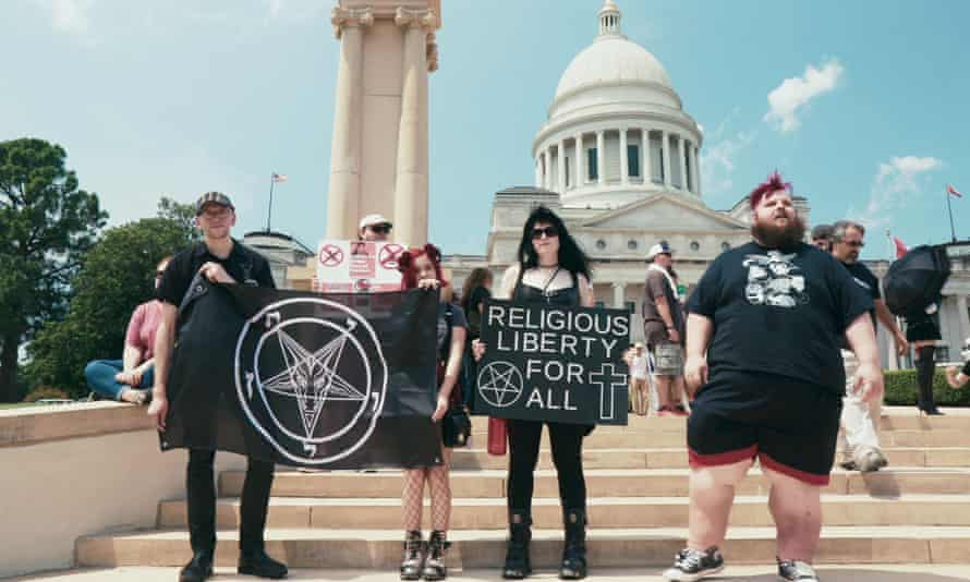 Members of the Satanic temple demonstrate for religious liberty