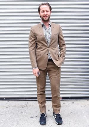 Derek Blasberg in New Balances at the Gucci Cruise show, Dia Art Foundation, New York, June 2015.