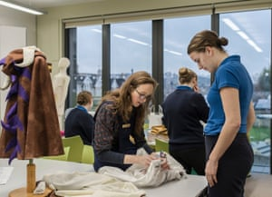 A sewing lesson held by Kate Jaeger, sewing lecturer