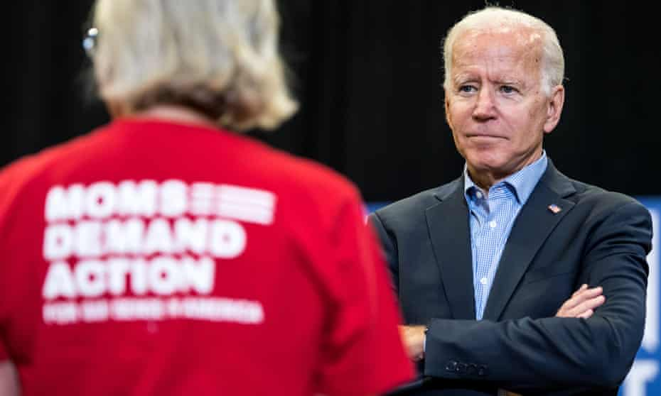 Joe Biden listens to a question from a representative of Moms Demand Action, a pro-gun control group, in South Carolina.