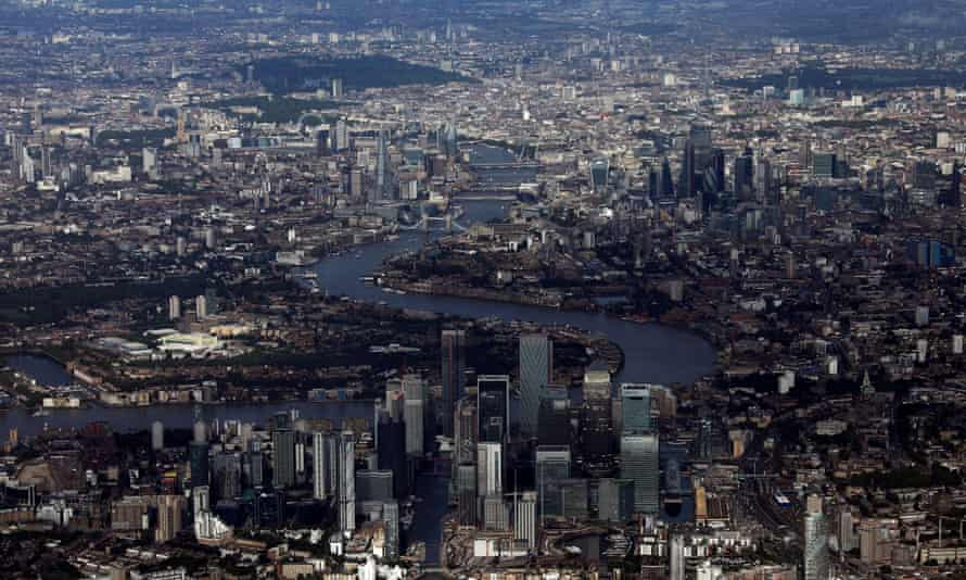 Canary Wharf and the City of London financial district