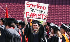 Stanford saw protests during its summer graduation ceremony over the case of former university swimmer Brock Turner, who attacked an unconscious woman.