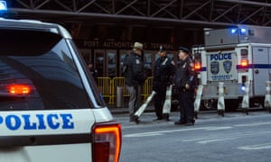 police stand guard in front of the port authority bus terminal