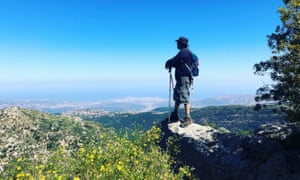 Dom Joly admiring the view from a Beirut hilltop.
