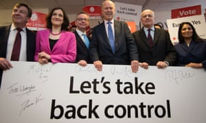 John Whittingdale, Theresa Villiers, Michael Gove, Chris Grayling, Iain Duncan Smith and Priti Patel launch the Vote Leave campaign in 2016.