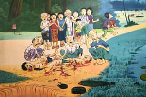 A painting by Aki Ra showing bodies mutilated by a mine explosion surrounded by crying villagers.