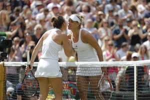 Halep congratulates Kerber on her victory.