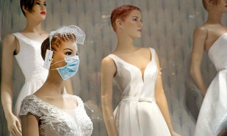 bridal mannequins in masks