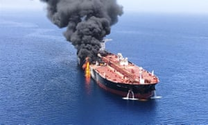An oil tanker on fire in the sea of Oman today.