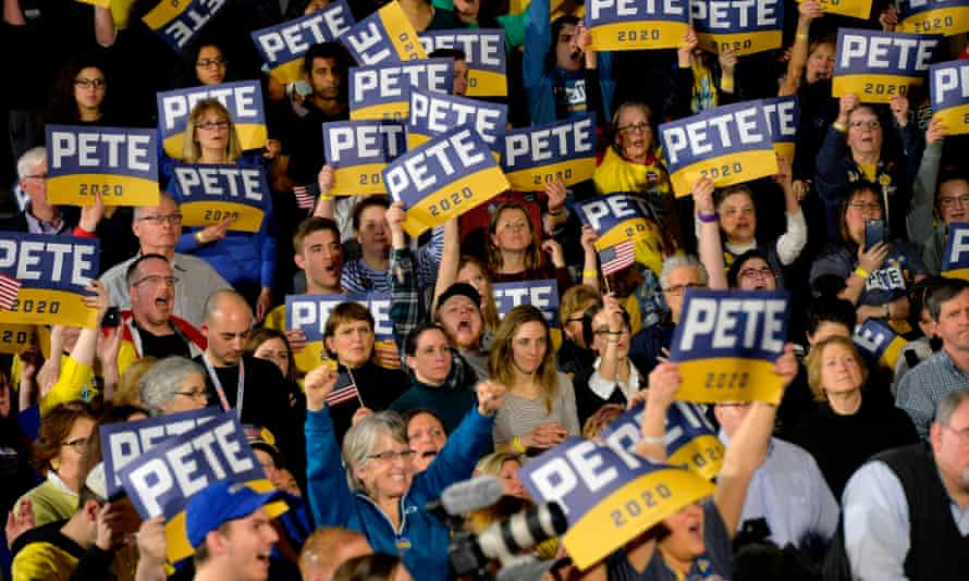 Supporters of Pete Buttigieg cheer during his speech at his primary night rally at Nashua Community College on 11 February 2020.
