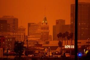 Smoke screen ... orange sky over Oakland, California, in September.