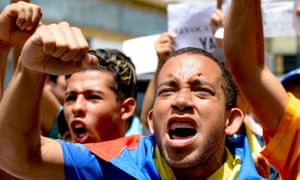 Venezuelan opposition supporters at a rally demanding a referendum on removing President Nicolás Maduro from power.