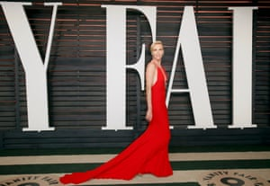 Actress Charlize Theron arrives at the Vanity Fair Oscar Party