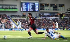 Brighton's Anthony Knockaert fouls Bournemouth's Adam Smith.