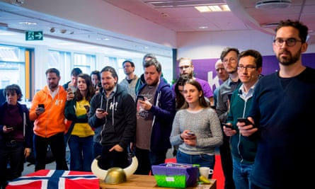 Employees of Kahoot, an Oslo startup, watching a Winter Olympics ski event.