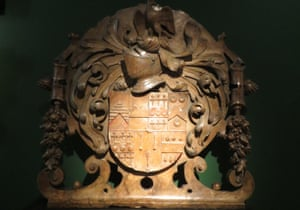 Carving from St Katharine Cree church's Sir Nicholas Throckmorton monument.