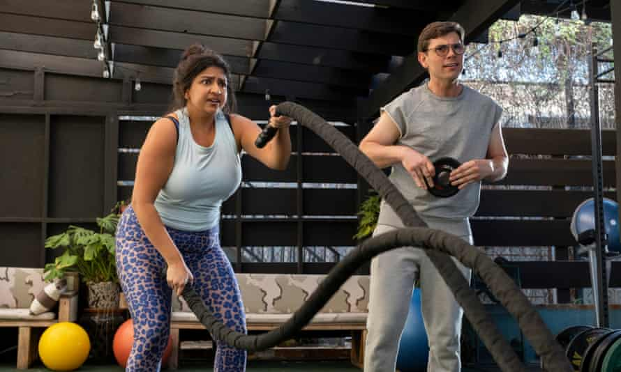 Punam Patel as Kim Laghari, with Ryan O'Connell as Ryan Hayes.