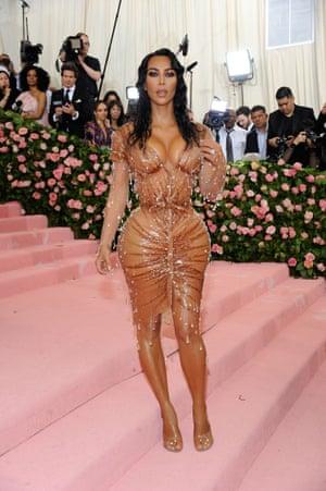 Kim Kardashian in a corseted dress at the Met Gala